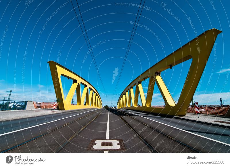 Sky City Clouds Street Architecture Weather Transport Beautiful weather Bridge Manmade structures Railroad tracks Traffic infrastructure Road traffic Tram