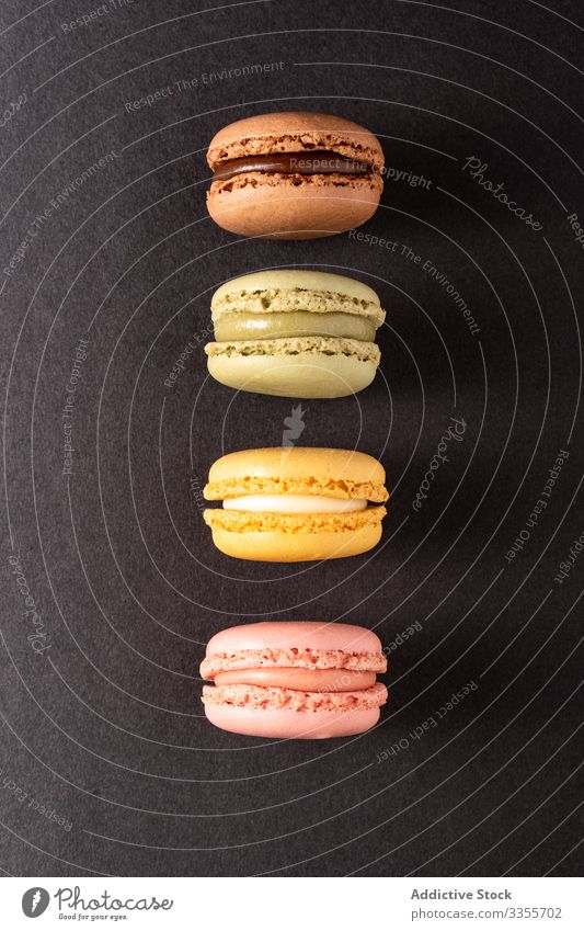 Fresh crunchy macaroons stack dessert colorful snack food biscuit sweet gourmet assorted pastry confection traditional delicious tasty yummy sugar cuisine