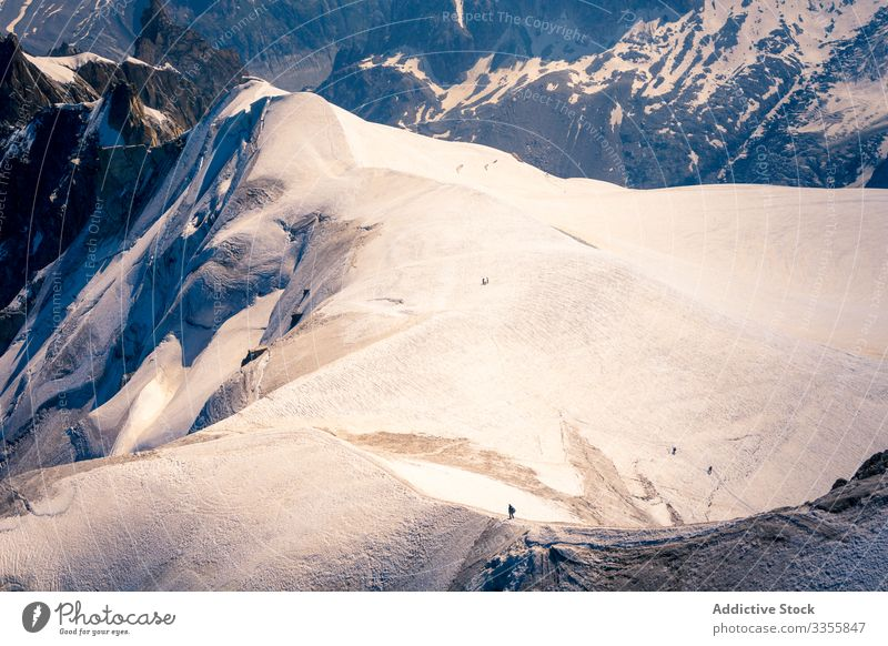 Snowy place on top of mountains under bright sky valley rock white snow scenery peak snowy rocky nature landscape scenic natural tourist mont-blanc extreme