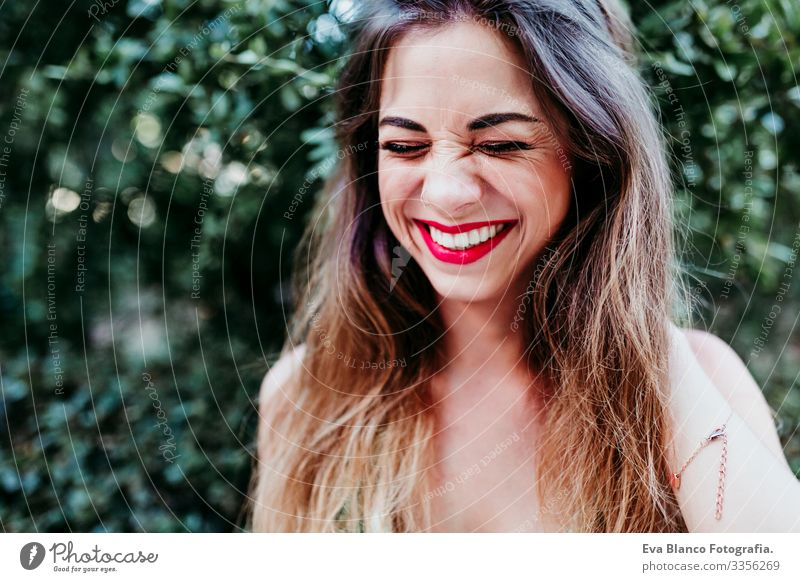 portrait of beautiful blonde young woman smiling at sunset. Red lips and gorgeous smile. Happiness concept Caucasian Hair toothy Cute Happy Girl pretty Healthy