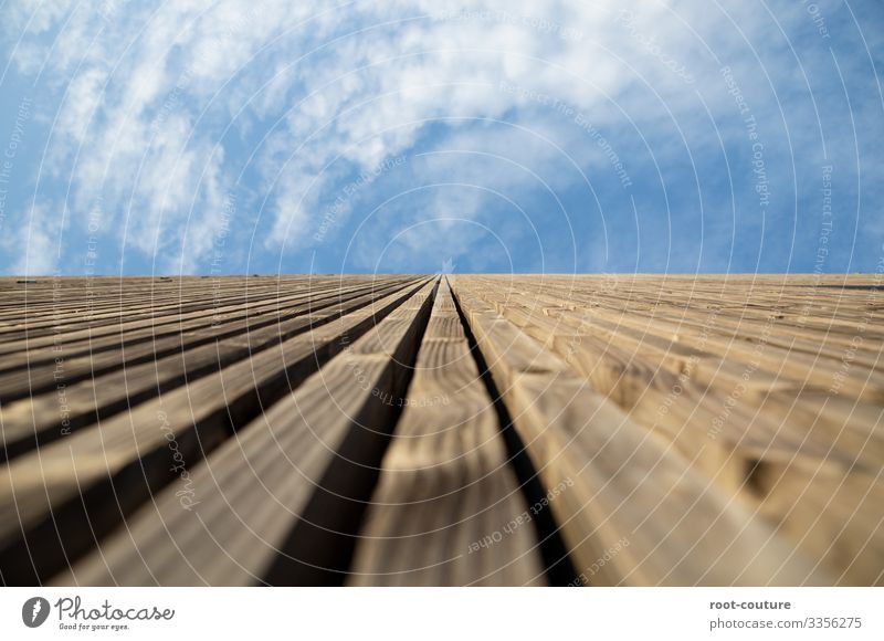 Sky Blue Clouds Architecture Wood Wall (building) Wall (barrier) Brown Facade Above Flat (apartment) Beautiful weather Tall Construction site Manmade structures