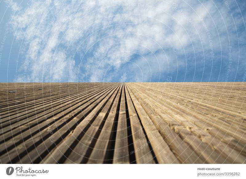 Wooden wall to the sky Flat (apartment) House building Craft (trade) Construction site Architecture Sky Clouds Beautiful weather Hut Gate Manmade structures