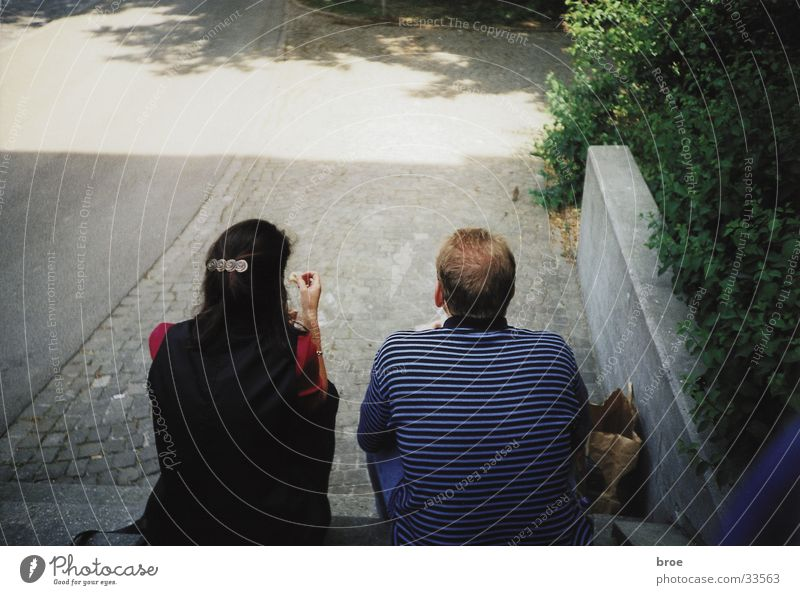 Couple Friendship Sit Stairs In pairs