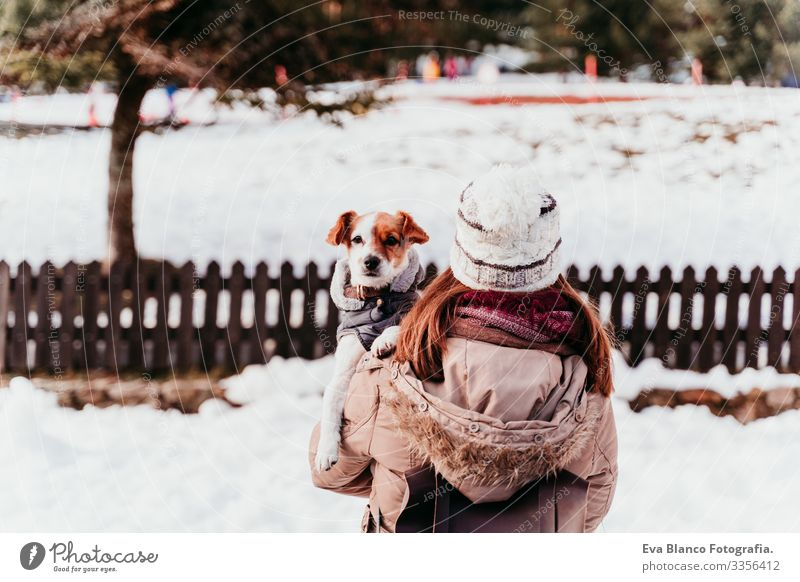 woman holding on shoulder her cute jack russell dog. Winter season at the mountain Playing Snow ball Woman Dog Mountain Exterior shot Vacation & Travel