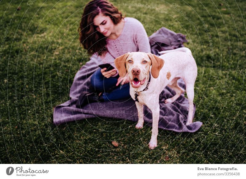 young woman with her dog at the park. woman using mobile phone. autumn season Cellphone Woman Dog Photography Technology Park Youth (Young adults) Exterior shot