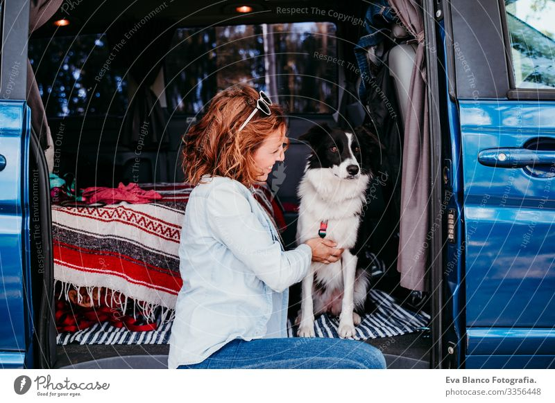 woman and border collie dog in a van. Travel concept Woman Dog Van van life Vacation & Travel Traveling owner Youth (Young adults) Modern Autumn Spring Car
