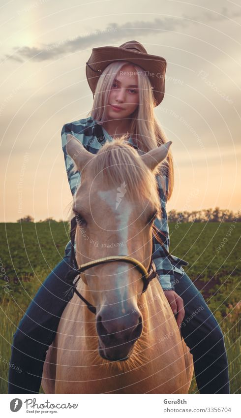 girl dressed in a cowboy hat and blue jeans sits on a horse Style Summer Human being Woman Adults Nature Plant Animal Sky Grass Meadow Village Clothing Shirt