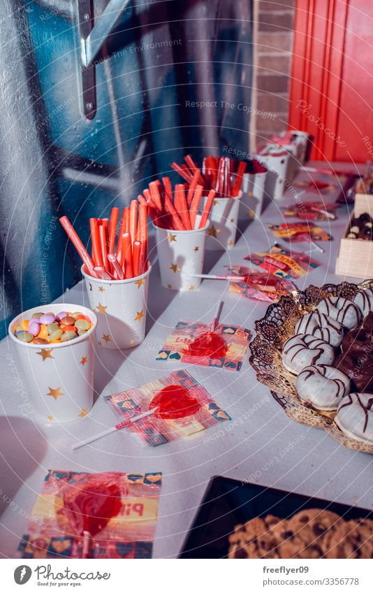 Table of sweets on a birthday party festive group drink dessert pastry object table assortment served piece holiday napkin croissant cupcake biscuit yummy