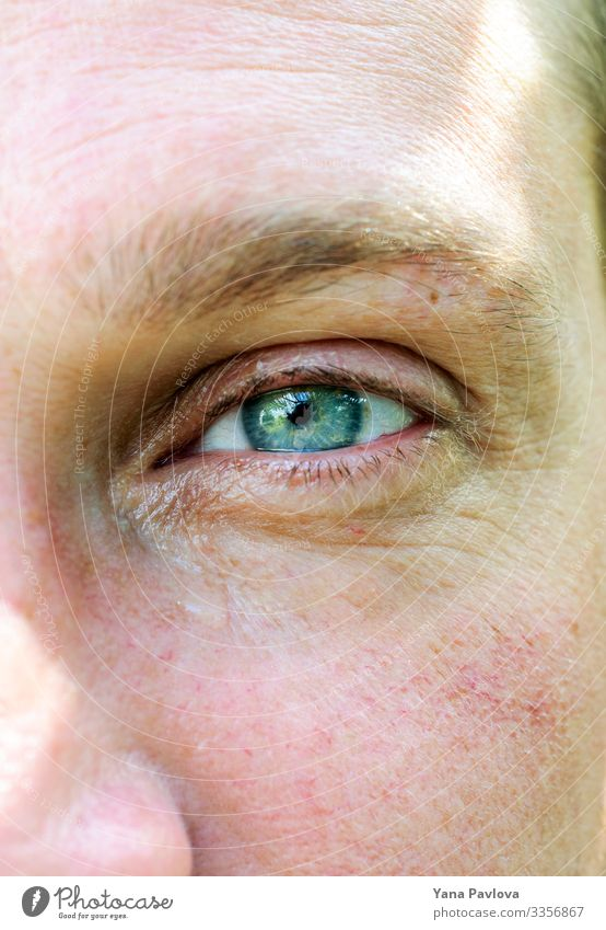 Male green-blue eye with a tear,skin with rosacea Human being Masculine Man Adults Eyes 1 30 - 45 years Colour Colour photo Close-up Morning Deep depth of field