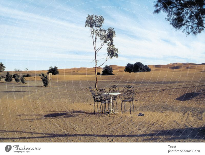Chairs in the desert Morocco Table Africa Desert Sand Nature Landscape