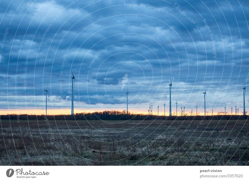 winterwind Wind energy plant Renewable energy Sky Winter Twilight Evening Weather Technology Energy industry