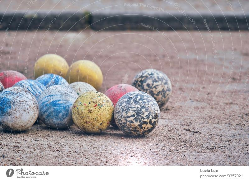 Boule game Playing Boules Sphere Ball sports Sporting Complex Boulodrome Spring Park Small Town Sand Round Multicoloured Colour photo Subdued colour