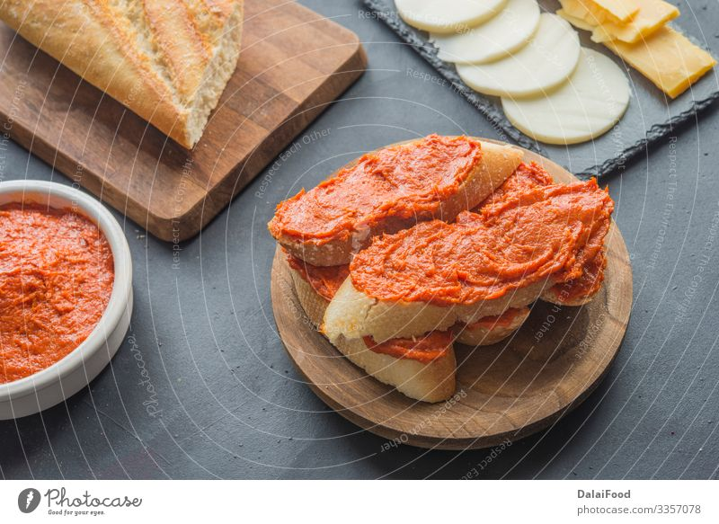 Sobrasada with bread typical mallorca spain Meat Sausage Cheese Bread Breakfast Table Kitchen Delicious Appetite Tradition appetizer background Baguette cooking