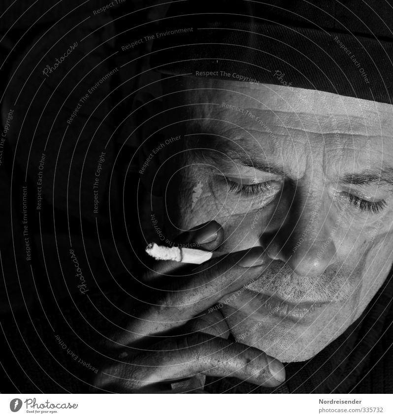 Portrait of a man with closed eyes and cigarette Work and employment Factory Human being Masculine Man Adults Life Face Hand Cap Dirty Dark Broken Brave