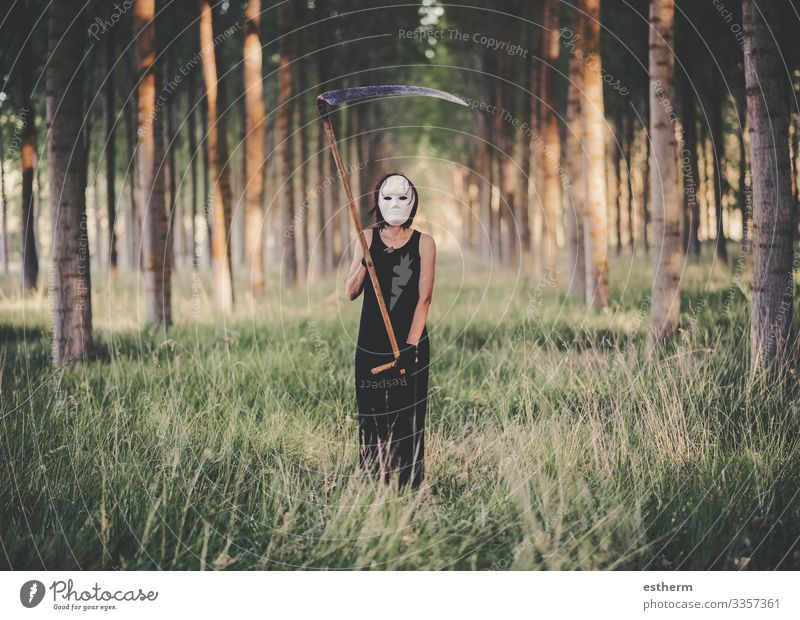 Young Woman with scythe in the forest Lifestyle Feasts & Celebrations Carnival Hallowe'en Fairs & Carnivals Human being Feminine Young woman