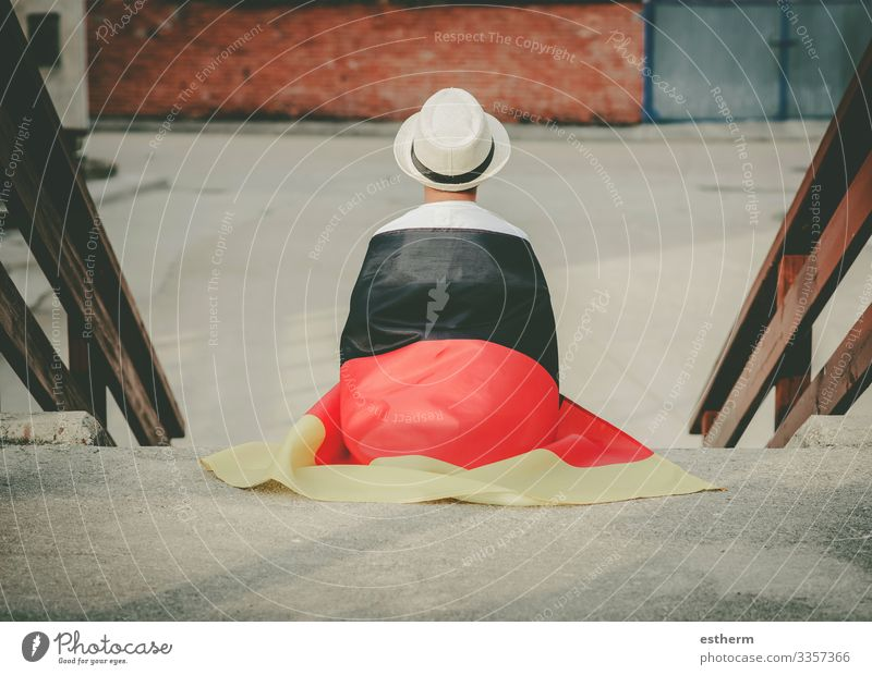 Back view of child with german flag Lifestyle Vacation & Travel Freedom Summer Feasts & Celebrations Human being Masculine Child Boy (child) 1 3 - 8 years