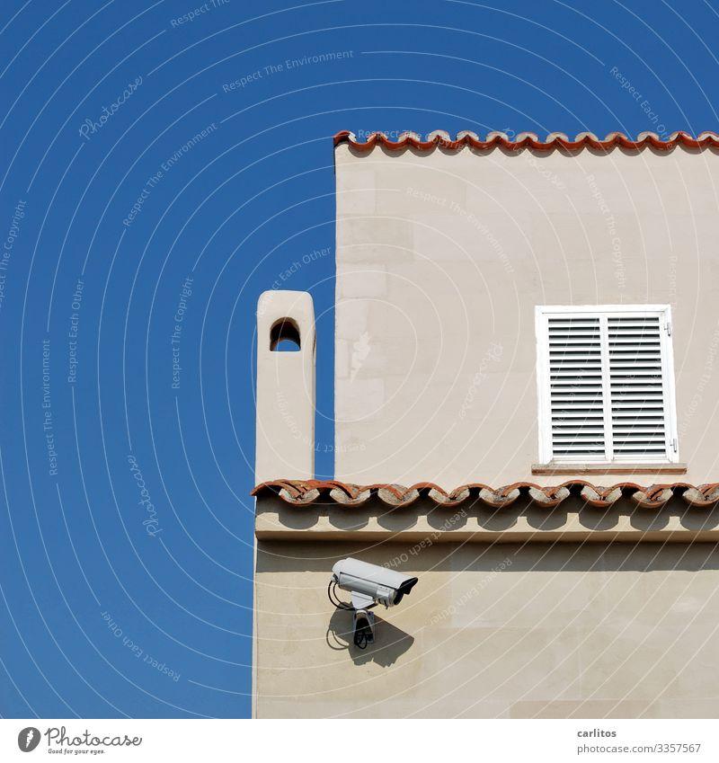 El hermano mayor te está observando Spain Balearic Islands Majorca Vacation home Villa Camera Video camera Surveillance Police state Facade Shutter Chimney
