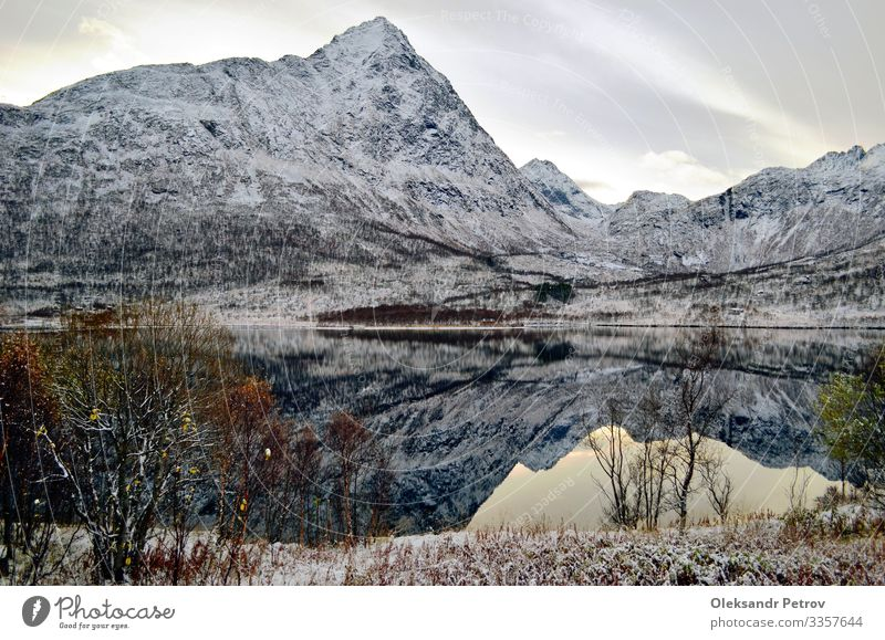 Mountain lake like the perfect nature mirror Beautiful Vacation & Travel Tourism Adventure Snow Hiking Nature Landscape Sky Clouds Hill Rock Peaceful scenery