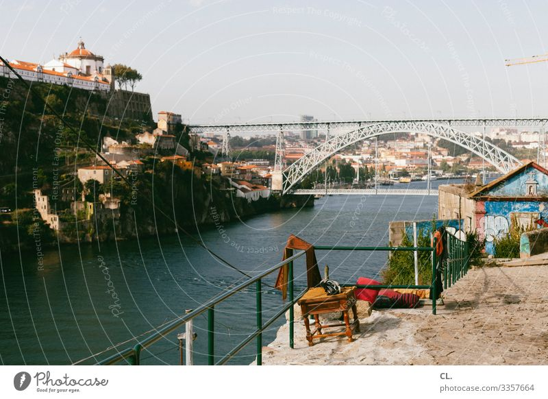 postage Porto Portugal Europe Bridge Bridge construction Chair Stool Vantage point Vacation & Travel Town Exterior shot Colour photo Day Historic Building