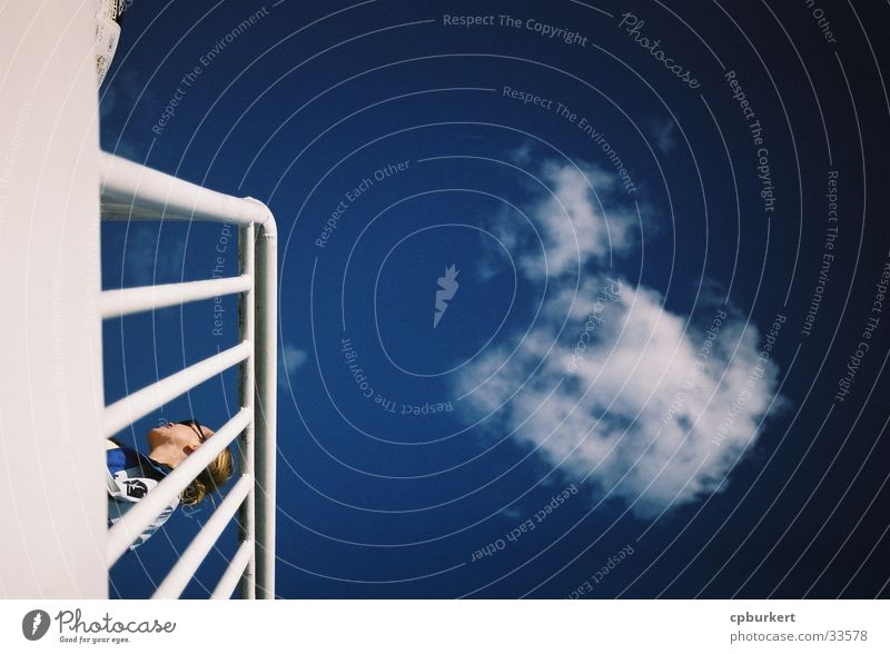 Between deck and sky Clouds Watercraft Woman Railing Europe Sky Parking level