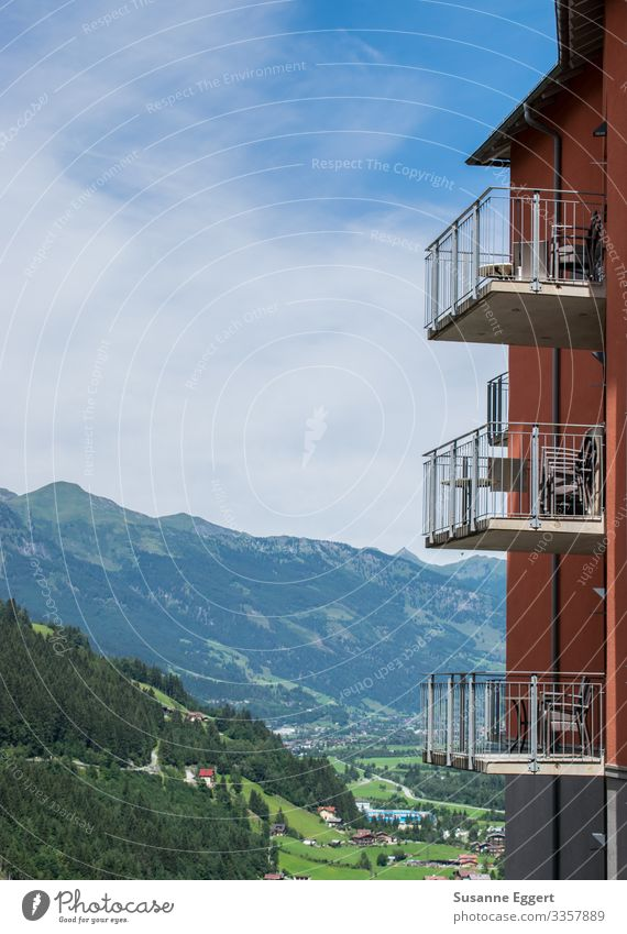 Gastein valley Balcony Living or residing Austria Apartment house Sunbeam Beautiful weather Sky blue Valley Mountain Forest Portrait format Slope