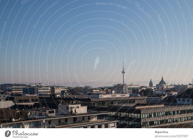 Telecommunication tower Mannheim Television tower Telecommunications tower Sky Tower Town Exterior shot Landmark Architecture Downtown Blue Deserted