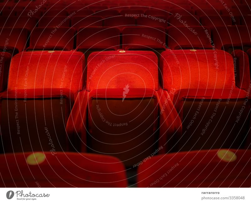 Three empty red velvet armchairs Chair Entertainment Music Audience Screen Theatre Culture Shows Concert Cinema Dark Red Comfortable Colour auditorium