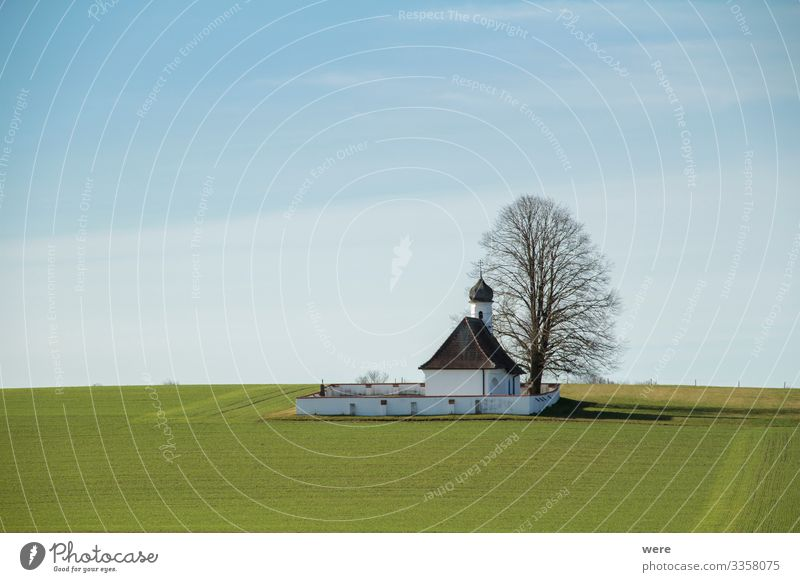 small chapel in the field Nature Deserted Church Religion and faith building copy space german landscape historic house lonely meadow nobody old quiet scene