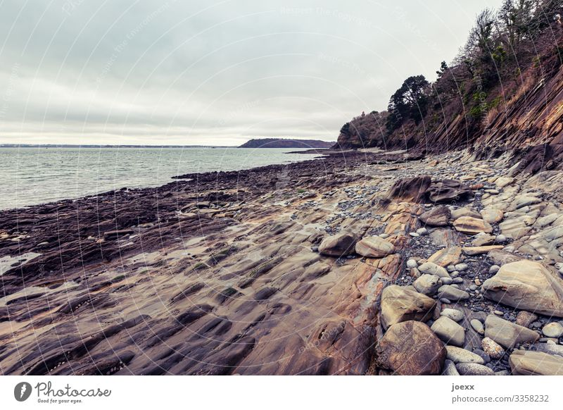 Rocky coast near Brest Water Brittany Wide angle Day Exterior shot Brown Deserted Beautiful weather Horizon Landscape Sky external name Ocean stones rocky coast