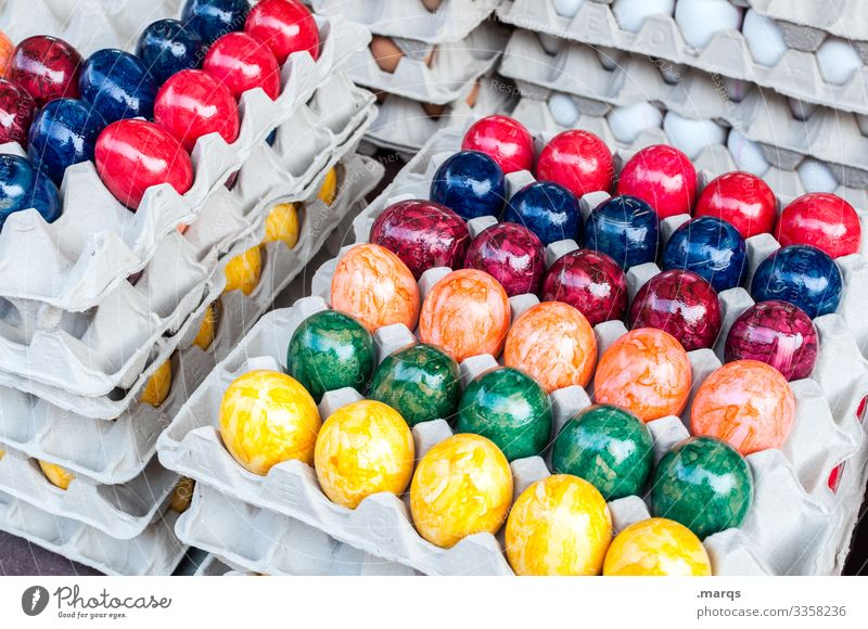 Colourful Easter eggs in a box Vegetable Eggs cardboard variegated Feasts & Celebrations Food Nutrition Stack Palett Farmer's market Sell Fresh Organic produce