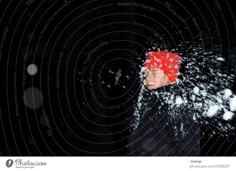 Ice Age | in your face Human being Boy (child) Body Head 1 Winter Snow Jacket Cap Snowball fight Playing Exceptional Funny Infancy Colour photo Exterior shot