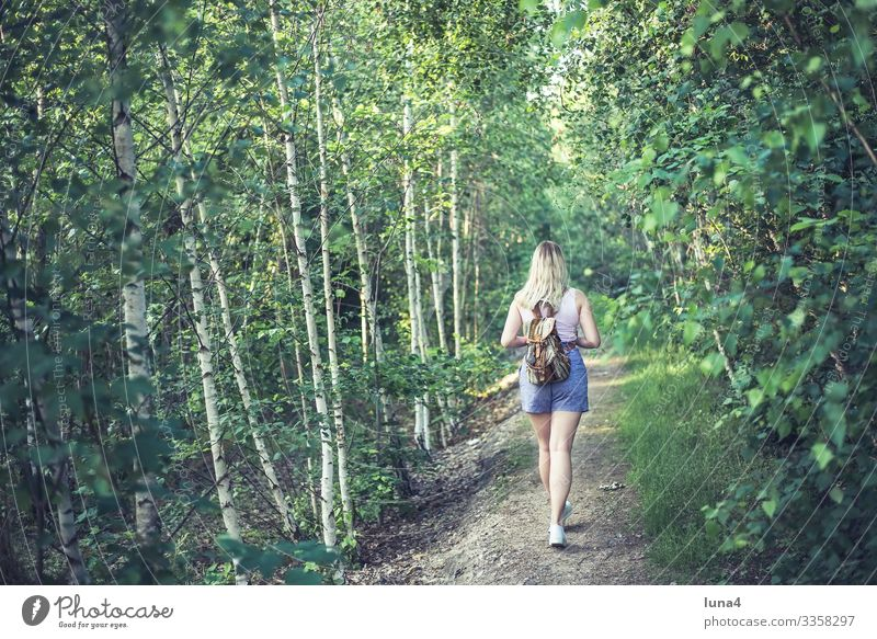 young woman with rucksack walking in the wood Woman Forest Backpack Hiking stroll Park relaxed Tree tranquillity wanderer fortunate deceleration youthful