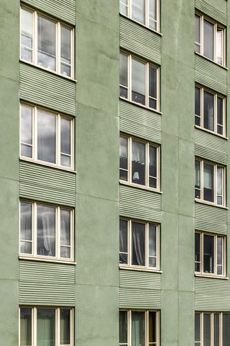 Windows of a green building Lifestyle House (Residential Structure) Environment Town Building Architecture Facade Simple Modern New Clean Green window windows