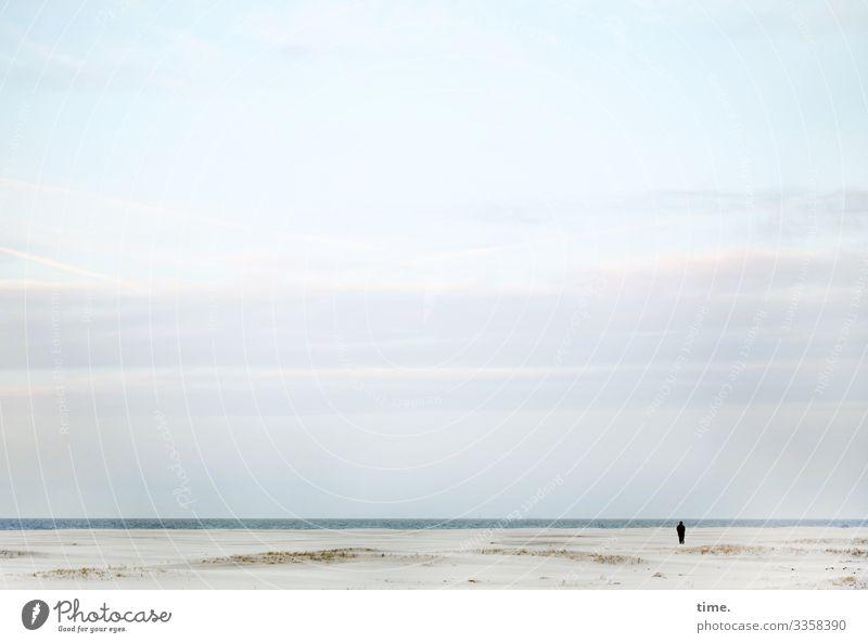 fresh breeze Human being 1 Environment Nature Landscape Sand Water Sky Clouds Horizon Coast Beach North Sea Dune Spiekeroog Observe Looking Stand Maritime