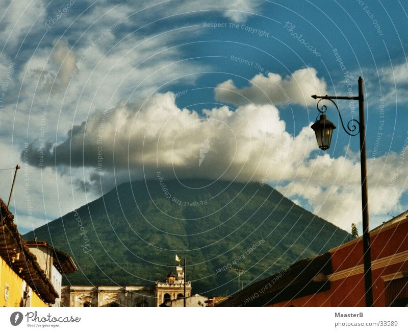 The perfect Volcano Mountain Landscape Sky Clouds Small Town Blue Yellow Green Red White Nature Lantern Set Guatemala Antigua Multicoloured Greeny-blue