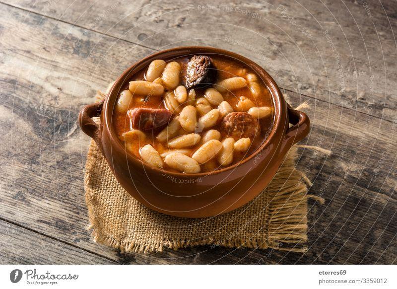 Typical Spanish fabada asturiana Bacon Beans chorizo Dinner Dish Food Healthy Eating Food photograph Ham Home-made iberico isolated Meat recipe Sauce Stew