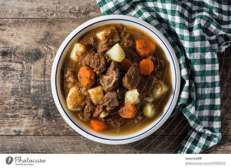 Irish beef stew with carrots and potatoes Beef Carrot Cooking Dish Food Healthy Eating Food photograph Goulash Herbs and spices Home-made Irishman lamb Meat