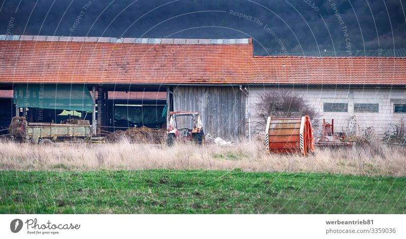 Backyard view of a German farm House (Residential Structure) Nature Landscape Plant Grass Building Architecture Transport Lanes & trails Tractor