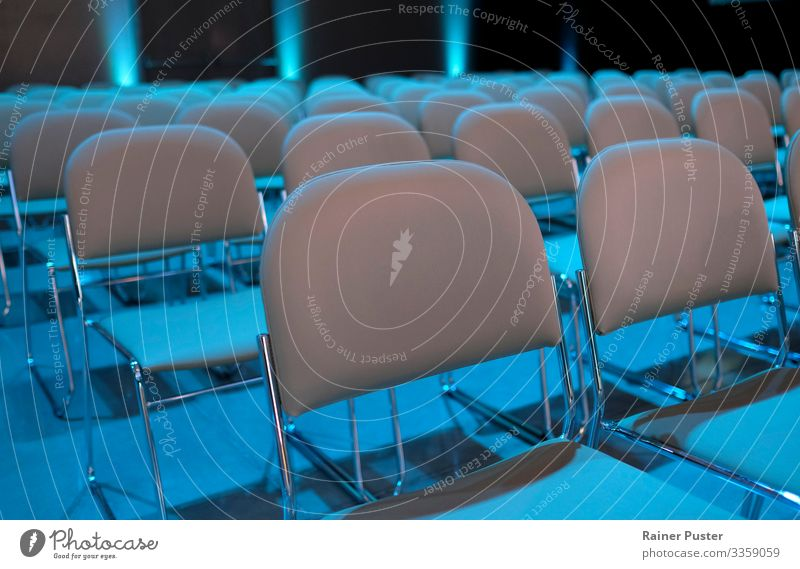 Empty rows of chairs before the event Event Economy Business Company Meeting To talk Modern Blue Gray Audience Auditorium Chair Row of chairs Seat Presentation