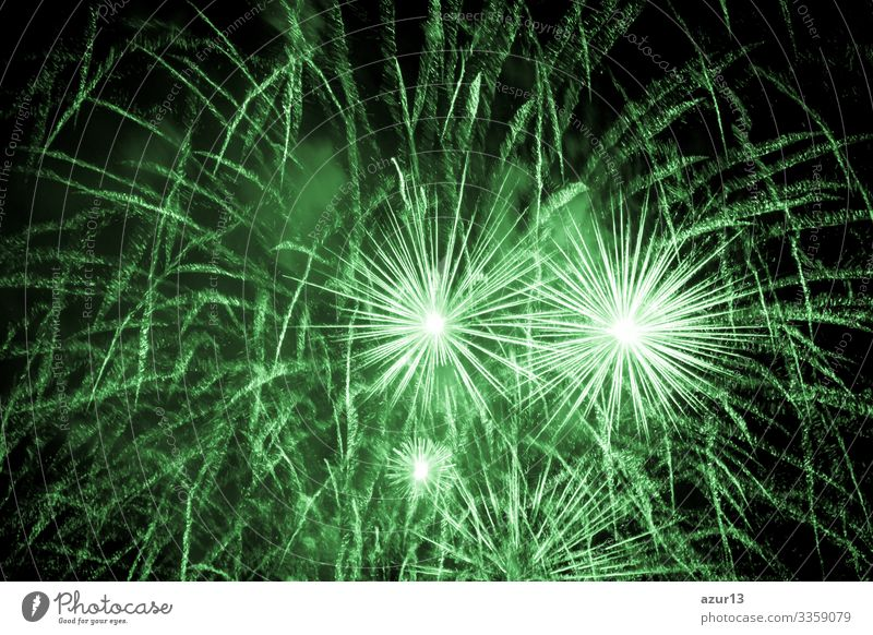 Luxury fireworks event sky show with green big bang stars luxury entertainment party festival nightlife pyrotechnics magic celebration celebrate new year