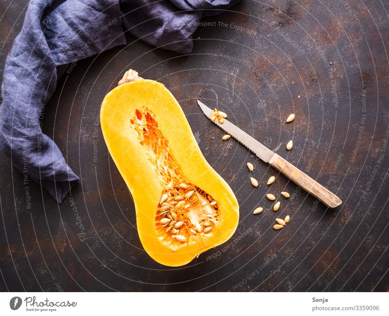 Half a gourd and a knife Food Vegetable Bottle gourd Nutrition Organic produce Vegetarian diet Diet Knives Lifestyle Healthy Healthy Eating Napkin Delicious