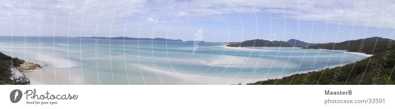 Whiteheaven Beach Nature Water Ocean Vacation & Travel Far-off places Landscape Coast Large Idyll Bay Australia Paradise Panorama (Format) Sandy beach