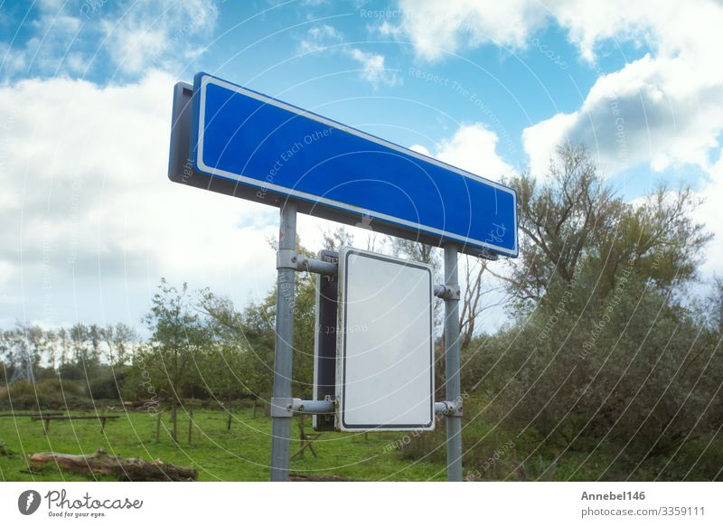 Blue Empty Road Name Sign, Isolated, Plate Vacation & Travel Sky Clouds Places Transport Street Highway Metal Signage Warning sign White isolated empty City