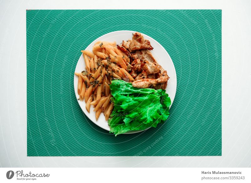 Chicken and salad with macaroni on plate top view Food Nutrition Eating Breakfast Lunch Business lunch Vegetarian diet Crockery Plate Utilize Feeding Green