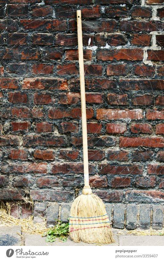 broom Living or residing Work and employment Workplace Craft (trade) Construction site House (Residential Structure) Ruin Wall (barrier) Wall (building) Facade