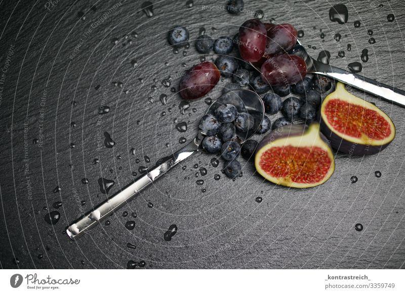 Healthy fruits Food Fruit Dessert Nutrition Breakfast Vegetarian diet Diet Crockery Spoon Observe Eating Fresh Delicious Sour Sweet Blue Black Silver Appetite