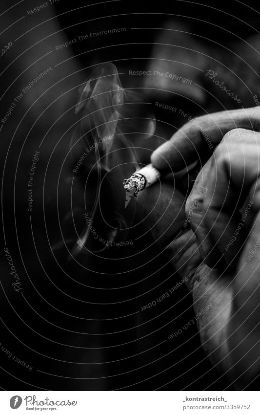 smoke Human being Masculine Young man Youth (Young adults) Eyes Hand Fingers 1 30 - 45 years Adults Cigarette Smoking Dirty Black White Addiction