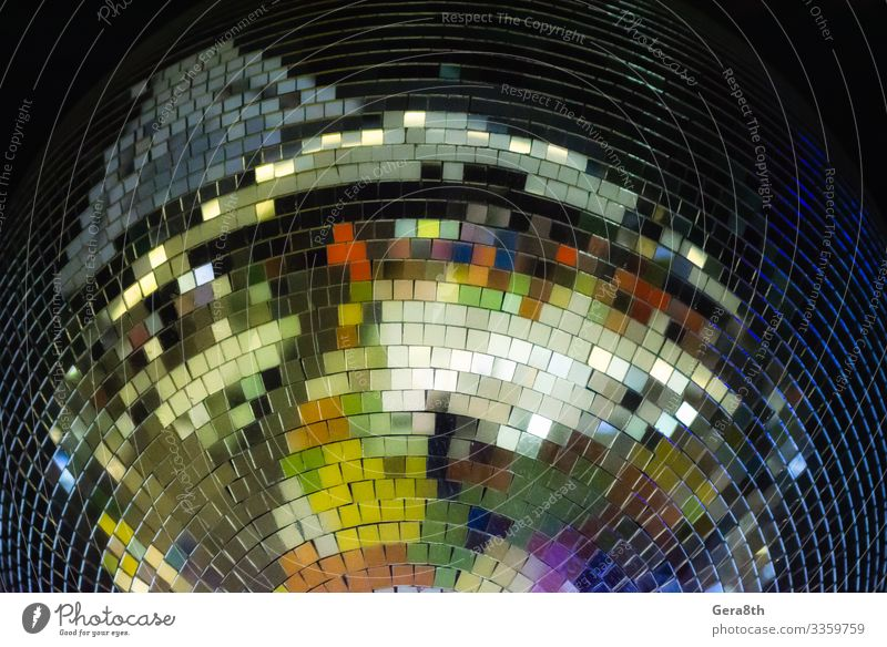 colorful disco ball close up Style Design Decoration Club Disco Disco ball Sphere Line Glittering Bright Black Colour background big decor disco background