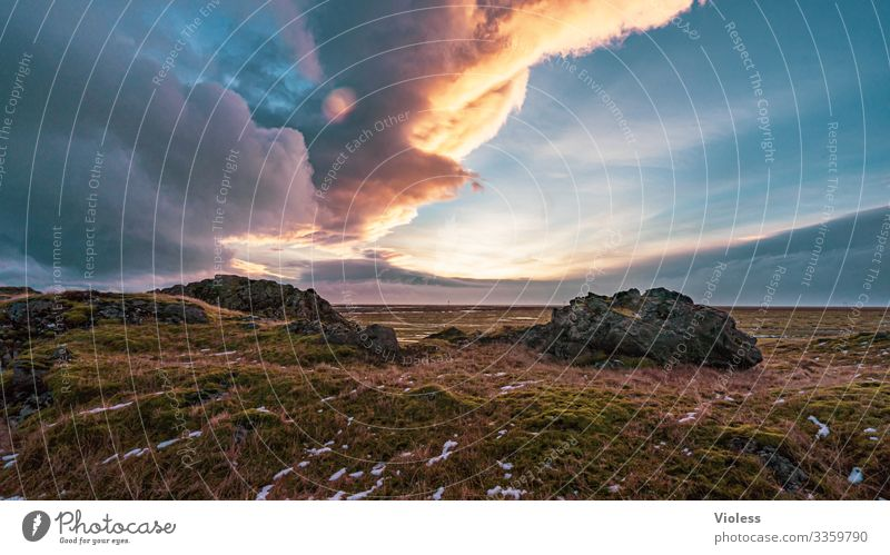 cloud play Nature Landscape Sky Clouds Sun Sunrise Sunset Sunlight Weather Wind Gale Hill Rock Threat Kitsch Natural Iceland Colour photo Exterior shot Morning