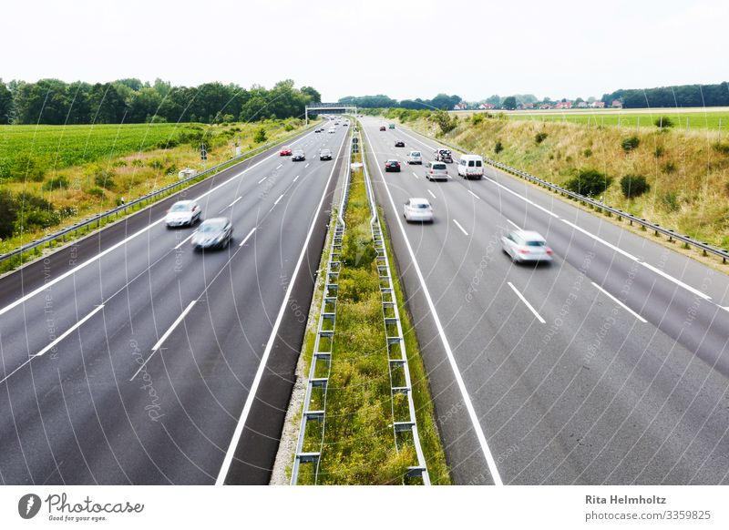 Traffic on the motorway Transport Means of transport Traffic infrastructure Passenger traffic Logistics Road traffic Motoring Highway Vehicle Car Mobile home